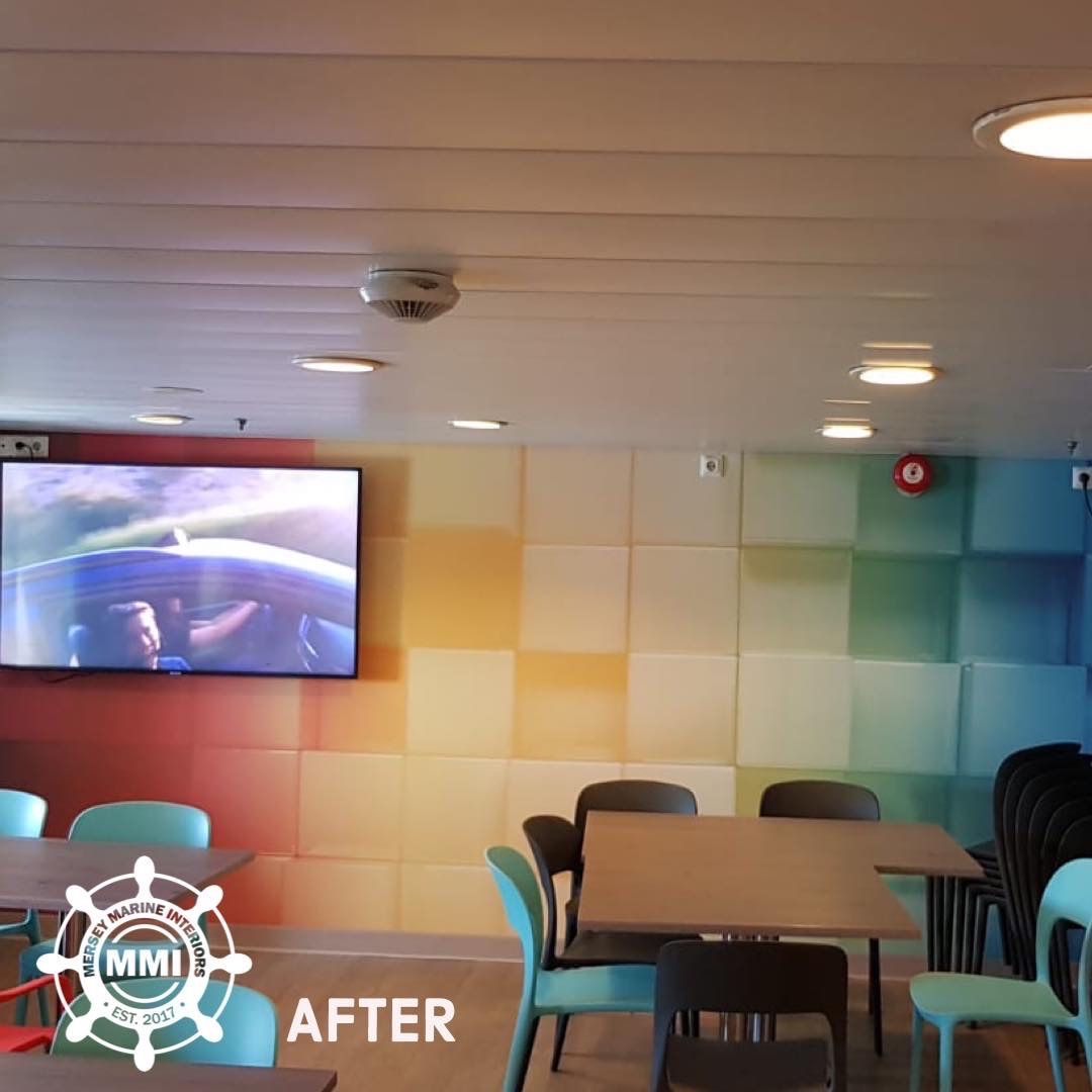 Colourful Muraspec Digital Print applied to crew's mess wall